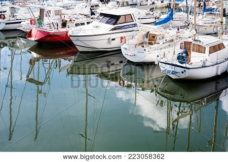 PAIMPOL, FRANCE - JULY 6, 2010: boat in harbour of Paimpol city. Paimpol is a commune in the Cotes-d'Armor department in Brittany on coast of English Channel.