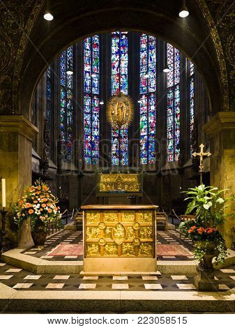AACHEN, GERMANY - JUNE 27, 2010: golden altar (Pala d'Oro) and Charlemagne's shrine in glass chapel of Aachen Cathedral. The Dom was constructed by emperor Charlemagne from 796