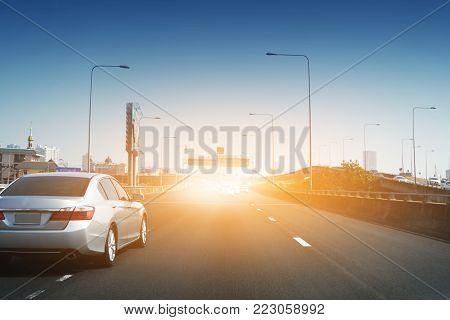Car driving on road,Car drive on high way road