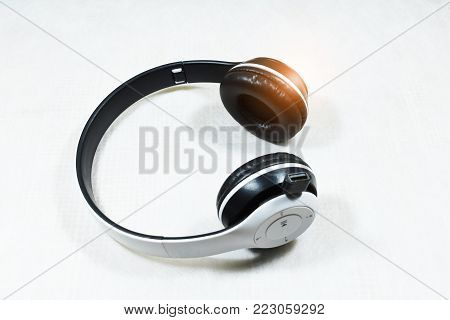 Earphone for entertainment music concept on white background,earphone on white background