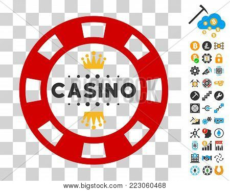 Royal Casino Chip pictograph with bonus bitcoin mining and blockchain pictographs. Vector illustration style is flat iconic symbols. Designed for cryptocurrency ui toolbars.