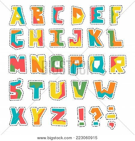 Hand lubberly cut vector colorful applique alphabet with dotted line set set. Good for scrap booking, school projects, posters, textiles.