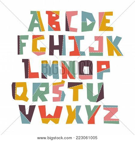 Hand lubberly cut vector colorful applique alphabet set. Good for scrap booking, school projects, posters, textiles.