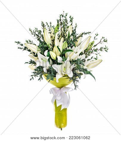 Beautiful lilly bouquet isolated on white background