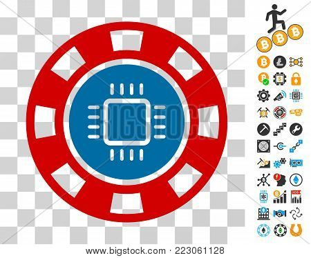 Cpu Casino Chip pictograph with bonus bitcoin mining and blockchain graphic icons. Vector illustration style is flat iconic symbols. Designed for bitcoin apps.