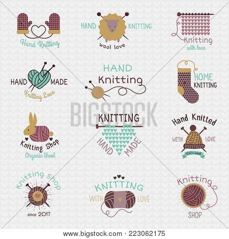 Knitting needles logo vector wool knitwear or knitted woolen socks logotype crocheting woolly materials and handknitting illustration isolated on white background.