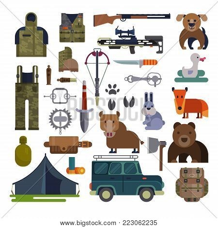 Hunt vector hunting ammunition or hunters equipment rifle decoy and backpack in camping with animals duck bear, boar and hunting dog set illustration isolated on white background.