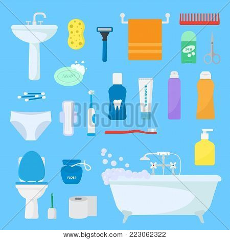 Hygiene personal care vector toiletries set of hygienic bath products and bathroom accessories soap shampoo or shower gel for bodycare icons illustration isolated on background.