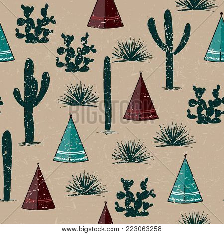 Indian tribal background. Simple flat wigwam, cactus, and grass. Seamless pattern landscape. Minimalist design. Cartoon illustration, vector