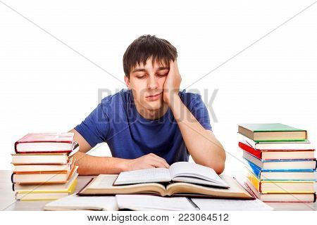 Sad and Tired Student Isolated on the White Background