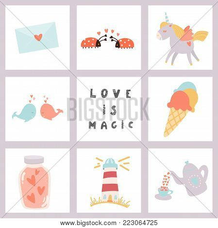 Love is magic. Hand drawn lettering and Valentine's Day signs. Stock vector