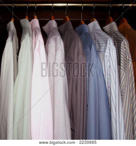 Mens Dress Shirts In Wardrobe Closet