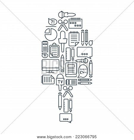 Journalistic lined icons set with correspondent and reporter equipment in microphone shape isolated vector illustration