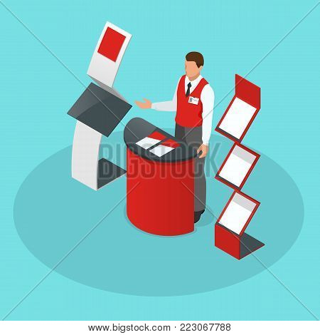 Isometric set of promotional stands or exhibition stands including display desks shelves and people with products and handout. Vector illustration