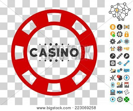Casino Chip pictograph with bonus bitcoin mining and blockchain pictographs. Vector illustration style is flat iconic symbols. Designed for blockchain apps.