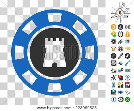 Bulwark Casino Chip icon with bonus bitcoin mining and blockchain clip art. Vector illustration style is flat iconic symbols. Designed for cryptocurrency websites.