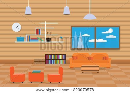 interior living room design relax with sofa orange and bookshelf, window in wood wall With floor tile background. vector illustration