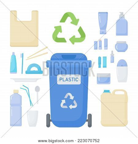 Plastic waste sorting vector flat icon set, Big collection of flat design of plastic trash recycling, rubbish and waste container isolated on the white background, cute vector illustration