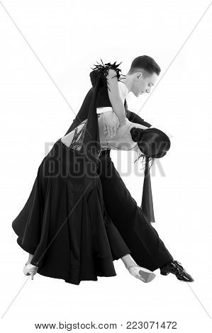 Ballroom Dance Couple In A Dance Pose Isolated On White