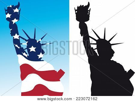 schematic silhouette statue of liberty black and with outline colors of the US flag