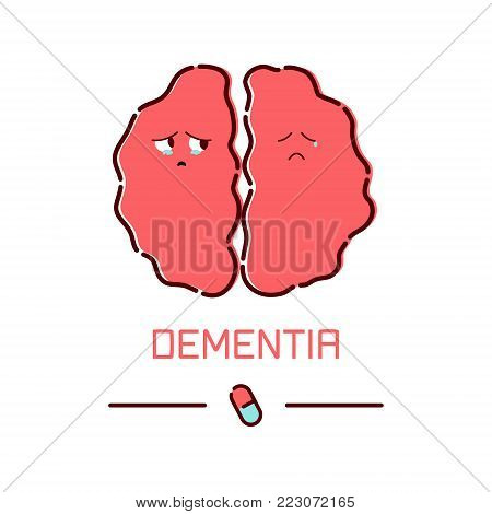 Dementia disease poster. Cute unhealthy sad brain icon in cartoon style. Front view. Body anatomy sign. Chronic neurodegenerative disease symbol. Medical internal organ vector illustration.