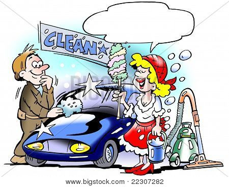 Lady Cleaning Up The Car