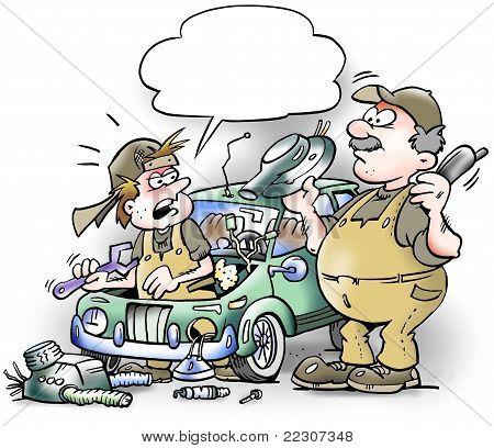 Mechanics Repairing Riddled Old Car