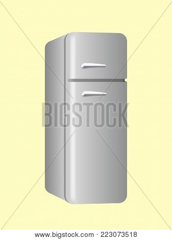 Large steel fridge with 2 compartments vector illustration