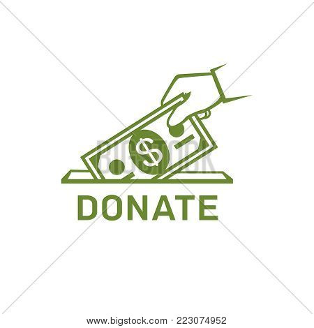 Donation vector icon. Donate money and charity concept. Hand putting money to the donation box vector illustration