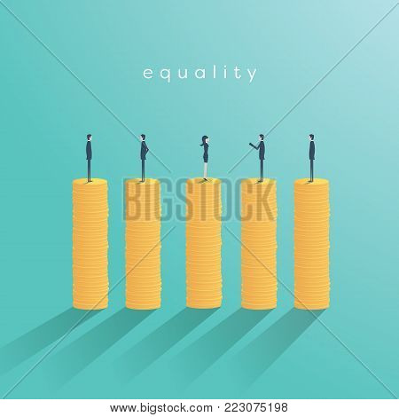 Business gender equality vector concept with businessman and businesswoman on same pile of money. Symbol of equal pay, salary, fairness, justice and emancipation. Eps10 vector illustration.