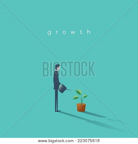 Business growth vector concept with businessman watering plant. Symbol of progress, success, motivation, ambition. Eps10 vector illustration.