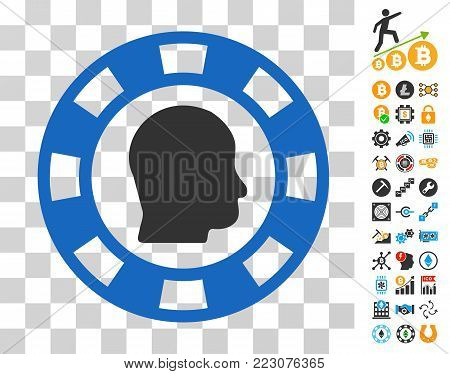 Personal Casino Chip icon with bonus bitcoin mining and blockchain images. Vector illustration style is flat iconic symbols. Designed for crypto currency apps.