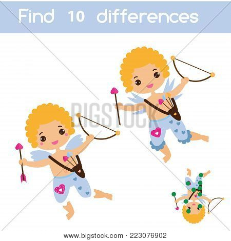 Find the differences educational children game with answer. Kids activity sheet with Valentines day Cupid angel character