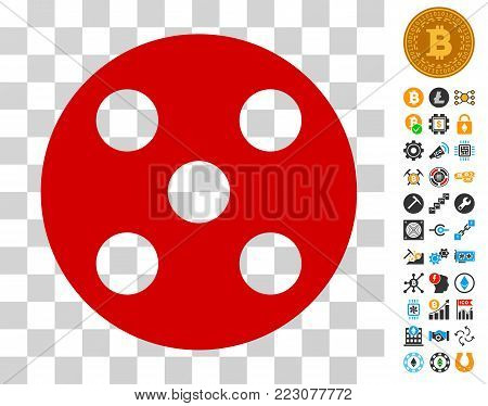 Round Dice icon with bonus bitcoin mining and blockchain icons. Vector illustration style is flat iconic symbols. Designed for blockchain software.