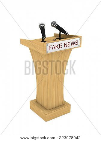 Fake news. Tribune with microphone on white background. Isolated 3D illustration
