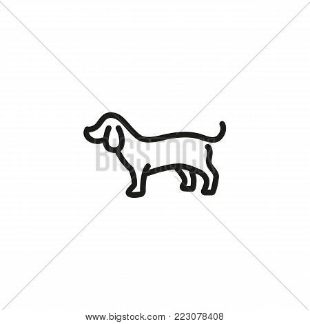 Icon of badger dog. Pet, animal, puppy. Animal care concept. Can be used for topics like veterinary, dog training, rescue.