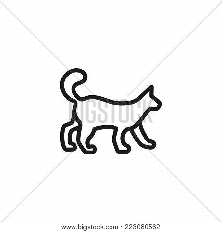 Icon of walking cat. Pet, animal, veterinary. Animal care concept. Can be used for topics like veterinary, animal care, rescue.