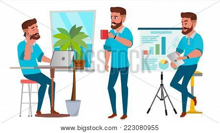 Business Man Character Vector. Working Man. Bearded. Environment Process Creative Studio. Full Length. Designer, Manager. Poses, Face Emotions, Gestures. Flat Cartoon Business Illustration