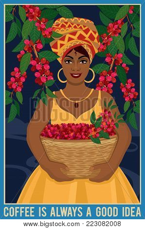 Design of a poster with african woman with a basket harvests arabica coffee beans. Coffee farmer picking red coffee beans on coffee tree.