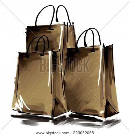 art digital acrylic and watercolor painted three gold brown shopping bags isolated on white background with space for text and label; colorful and monochrome 3d