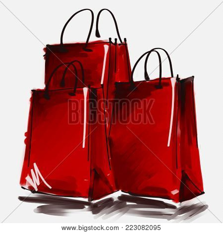 art digital acrylic and watercolor painted three red shopping bags isolated on white background with space for text and label; colorful 3d