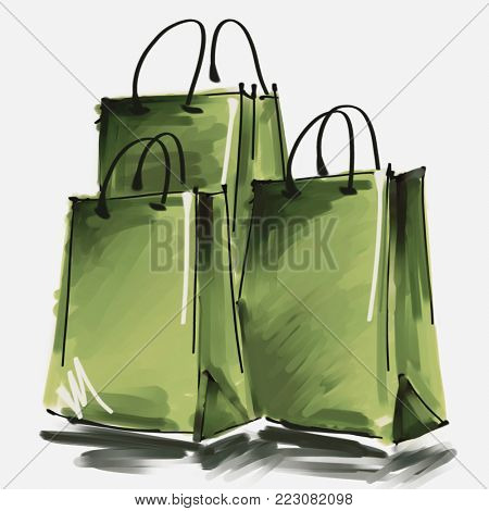 art digital acrylic and watercolor painted three green shopping bags isolated on white background with space for text and label; colorful 3d