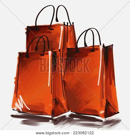 art digital acrylic and watercolor painted three orange red shopping bags isolated on white background with space for text and label; colorful 3d