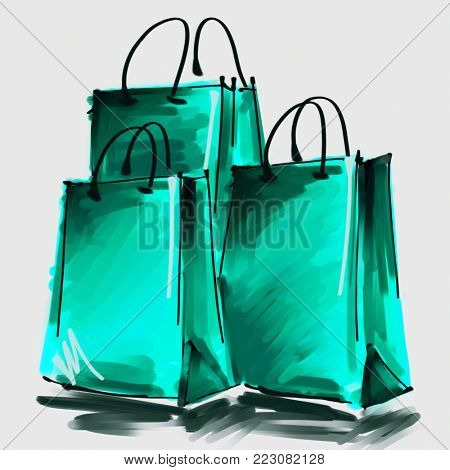 art digital acrylic and watercolor painted three green sea shopping bags isolated on white background with space for text and label; colorful 3d