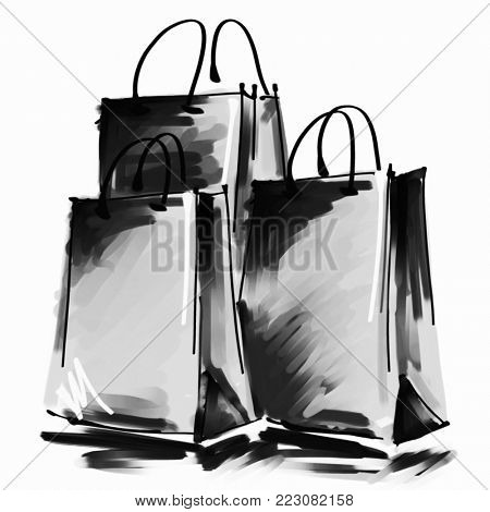 art digital acrylic and watercolor painted three grey shopping bags isolated on white background with space for text and label; monochrome 3d