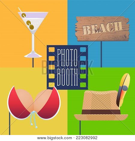 Photo booth printable props on sticks collection for tropical party vector illustration. Funny icons for beach arrow, bikini and other elements for making exotic style photo booth collage