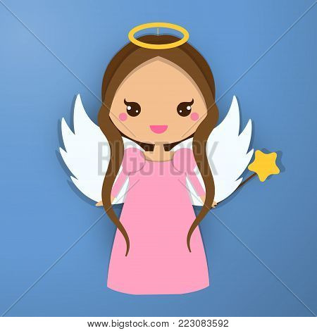 Cute angel. Kawaii style. Paper figure, sticker. Design element for greeting cards, communion, christening and other religious events. Papert craft, paper art style