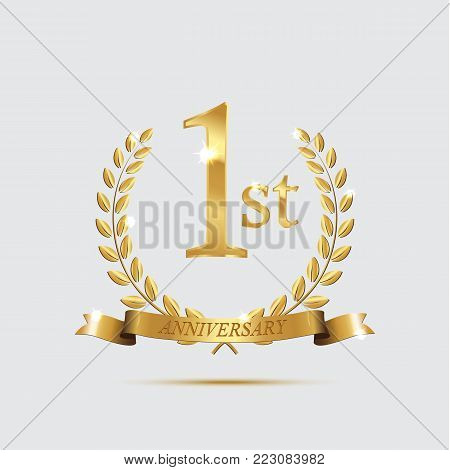 1 anniversary golden symbol. Golden laurel wreaths with ribbons and first anniversary year symbol on light background. Vector anniversary design element