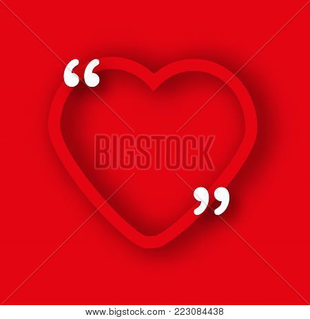 Red Paper heart frame template in realistic style. Shape with commas for quotes and your text. Romantic, Valentines day background, advertisement