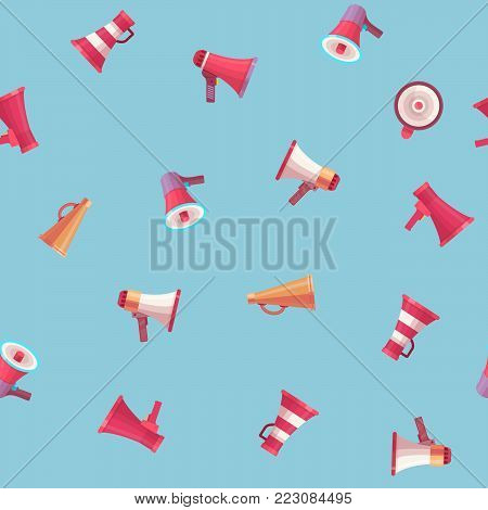 Vector mega-phone voice volume speaker control megaphone flat voice speaking illustration different model mega size and volume. Voice hight level flat style device seamless pattern background